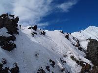 Etna, 3343 m. M.Flaccavento durante la prima salita della via Cenerentola in Valle del Bove.