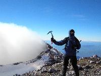 Etna, 3343 m. G.Cavallo in vetta al cratere di Nord/Est.